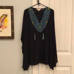 Navy blue tropical tunic or cover up